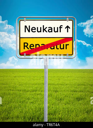German place-name sign symbolising change from repair to purchase, Germany - Stock Photo