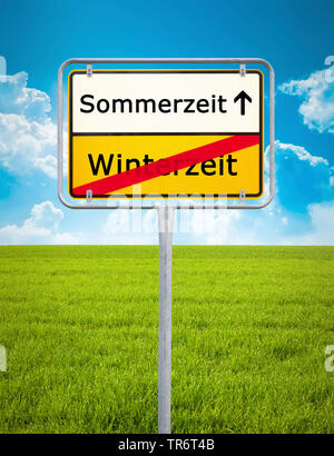 German place-name sign symbolising change from wintertime to summertime, Germany