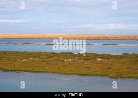 landscape in Khenifiss National park, Morocco, Western Sahara, Khenifiss National Park - Stock Photo