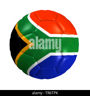 isolated soccer ball with the south africa flag, computer graphic - Stock Photo