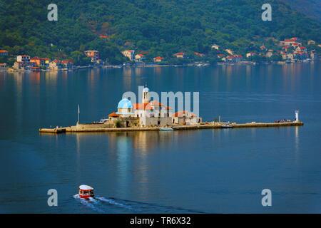 islet Gospa od Skrpjela, Our Lady of the Rocks in the Bay of Kotor, Montenegro, Gospa od Skrpjela, Perast - Stock Photo