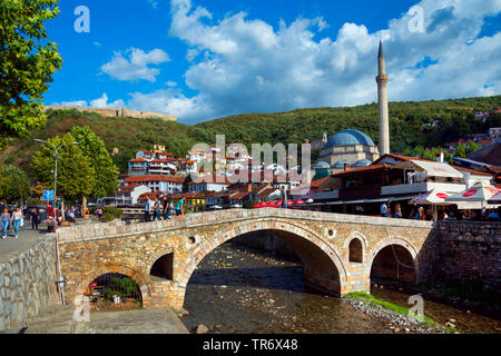 old town with stone brdge over river Bistrica, Sinan Pasha Mosque and the fortress in background, Kosovo, Prizren - Stock Photo