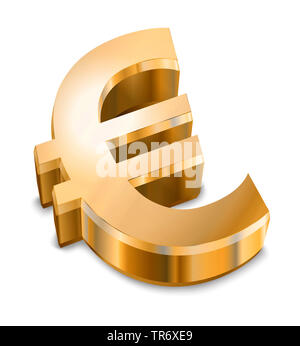 3D computer graphic, text symbol in gold color reading EURO - Stock Photo