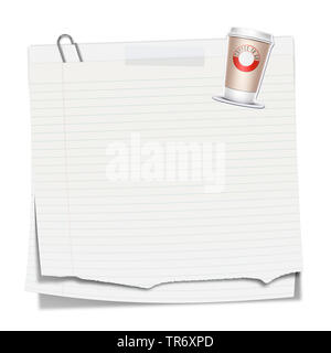 3D computer graphic, memo in white color without text - Stock Photo