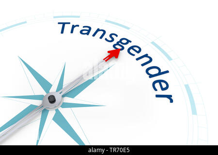 3D computer graphic, compass in white color lettering TRANSGENDER