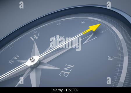 3D computer graphic, compass in grey color without text pointing north
