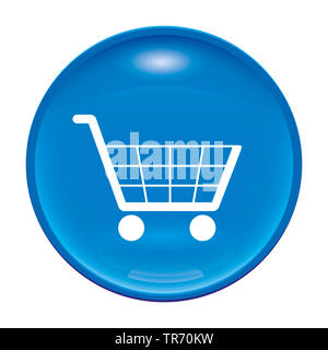 3D computer graphic, symbolic button with trolley symbol - Stock Photo