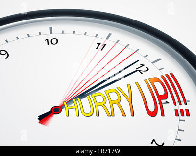 3D-Computergrafik, Uhr mit bewegendem Zeiger mit Aufschrift HURRY UP! (Beeil Dich) | 3D computer graphic, clock with moving second hand lettering HURR - Stock Photo