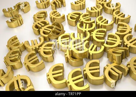 3D computer graphic, multiple US dollar symbols lying on white floor - Stock Photo
