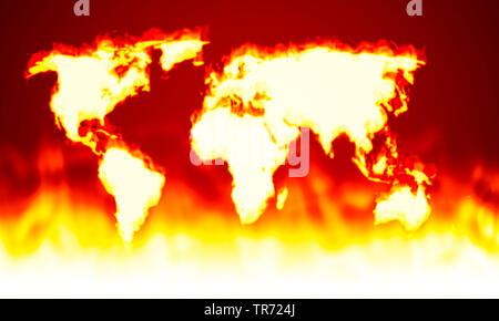 3D computer graphic, world map without country borders in red and yellow (fire) - Stock Photo