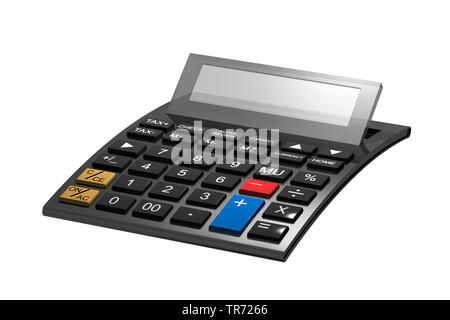 3D computer graphic, symbolic pocket calculator against white background - Stock Photo