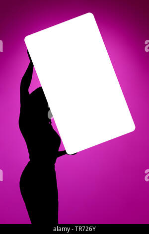 3D computer graphic, blank white advertisment board hold up by female shadow figure - Stock Photo
