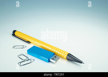 3D computer graphic, symbolic pen (yellow color) and USB data stick (blue color) on white background - Stock Photo