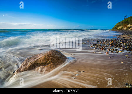 boulder in the surge of the Baltic Sea, Germany, Mecklenburg-Western Pomerania, Weststrand am Darss, Prerow