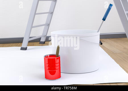 3D computer graphic, decorating, ladder and paint bucket in front of white wall - Stock Photo