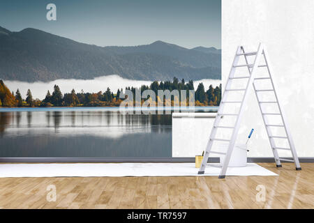 3D computer graphic, decorating, ladder and paint bucket in front of wall with photo wallpaper - Stock Photo