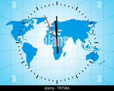 clock with world map just before 12 o'clock - Stock Photo