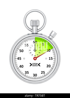 silver stopclock, cutout, 10 seconds - Stock Photo