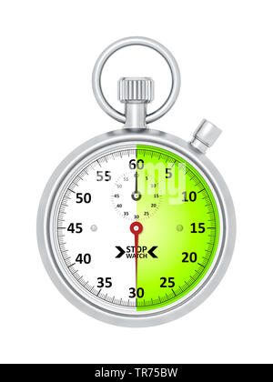 silver stopclock, cutout, 30 seconds - Stock Photo