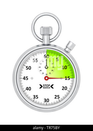 silver stopclock, cutout, 15 seconds - Stock Photo