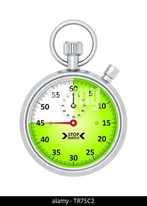 silver stopclock, cutout, 45 seconds - Stock Photo