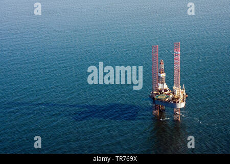 oilbarge rig in the North Sea, aerial photo, Netherlands - Stock Photo
