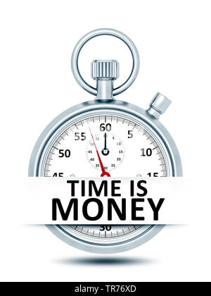 3D-Computergrafik, Stoppuhr vor weissem Hintergrund mit der Aufschrift TIME IS MONEY  (Zeit ist Geld) | 3D computer graphic, stopclock against white b - Stock Photo