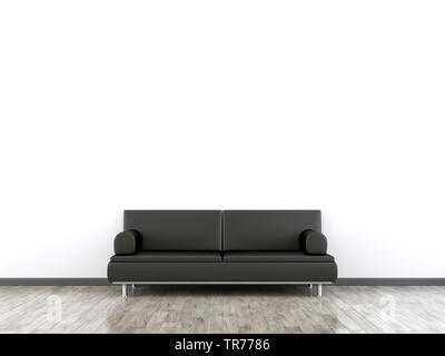 3D computer graphic, Interior design with leather sofa in black color against a white wall - Stock Photo
