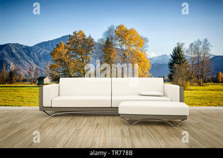 3D computer graphic, Interior design with leather sofa in white color against a photographic wallpaper with landscape motif - Stock Photo