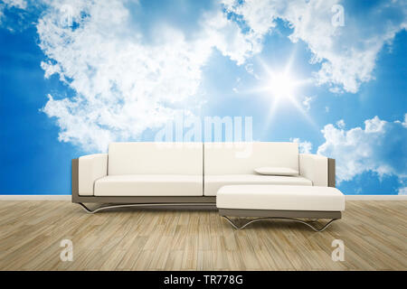 3D computer graphic, Interior design with leather sofa in white color against a photographic wallpaper with cloud motif - Stock Photo