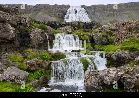 Dynjandi Wasserfall, Iceland, Westfjord - Stock Photo