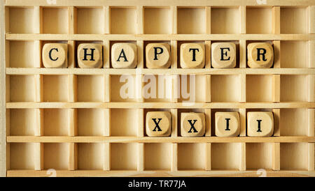 wooden game with the word chapter XXII - Stock Photo