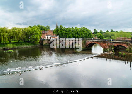 Originally built by the Romans the Old Dee bridge spans the river Dee at Chester England UK. May 2019 - Stock Photo