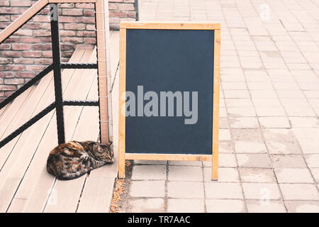 Blank menu stand and cat on cafe exterior background, mock up - Stock Photo