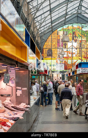 Food and groceries for sale in the Central market or Mercado in Malaga, Spain. - Stock Photo