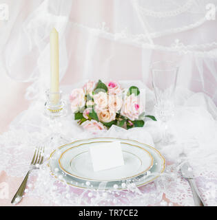 Festive wedding, birthday table setting with cutlery, porcelain plate with golden rim. Blank card mockup. Restaurant menu concept - Stock Photo