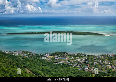 Ile Aux Benitiers, aerial view from Mauritius mountain. - Stock Photo