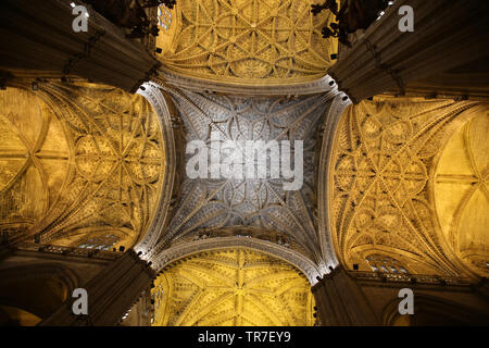 Spain. Andalusia. Seville. Cathedral. Inside. - Stock Photo