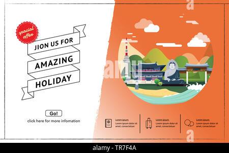 Tourist attraction landmarks in Korea illustration design - Stock Photo