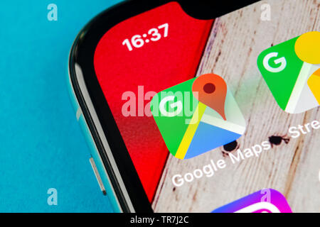 Sankt-Petersburg, Russia, September 19, 2018: Google Maps application icon on Apple iPhone X screen close-up. Google Maps icon. Google maps applicatio - Stock Photo