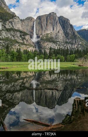 Thundering Yosemite Falls with perfect reflection, Yosemite National Park, California