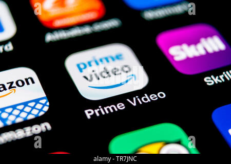 Sankt-Petersburg, Russia, September 30, 2018: Amazon Prime Video application icon on Apple iPhone X screen close-up. Amazon PrimeVideo app icon. Amazo - Stock Photo