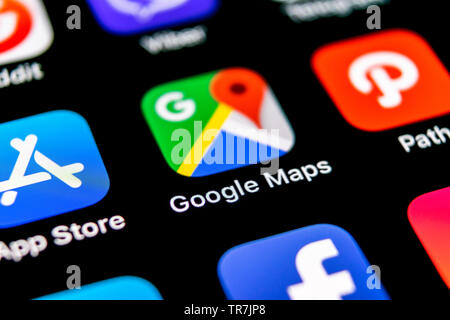 Sankt-Petersburg, Russia, September 30, 2018: Google Maps application icon on Apple iPhone X screen close-up. Google Maps icon. Google maps applicatio - Stock Photo