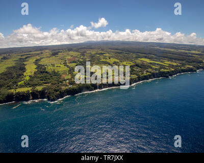 Hawaii's coast from the air. View from helicopter - Stock Photo