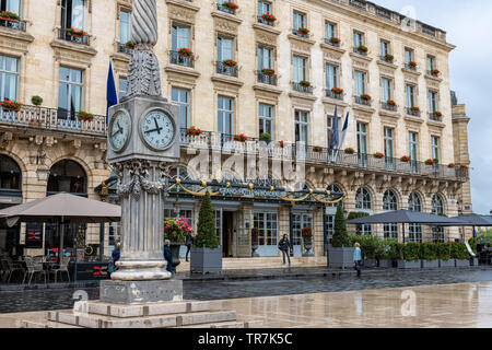 Intercontinental Grand Hotel in Bordeaux, France with Neoclassical Facade - Stock Photo