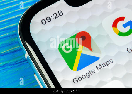 Sankt-Petersburg, Russia, June 20, 2018: Google Maps application icon on Apple iPhone X screen close-up. Google Maps icon. Google maps application. So - Stock Photo