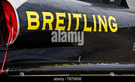 The Breitling Jet Team - Czech Aero L-39 Albatros jet on the flightline at the 2019 Duxford Air Festival - Stock Photo
