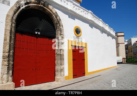 The Plaza de Toros de la Real Maestranza in Seville, Spain on April 3, 2019. The bullfighting ring has a capacity of twelve thousand people. - Stock Photo