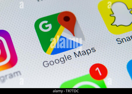 Sankt-Petersburg, Russia, February 28, 2018: Google Maps application icon on Apple iPhone X screen close-up. Google Maps icon. Google maps application - Stock Photo