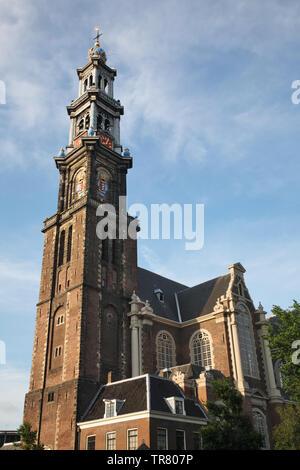Westerkerk church  in Amsterdam. Netherlands - Stock Photo